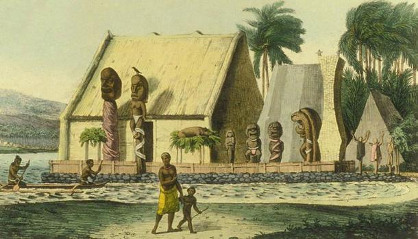A depiction of a royal heiau (Hawaiian temple) at Tiritatéa Bay (now Kealakekua Bay). Illustration circa 1816.