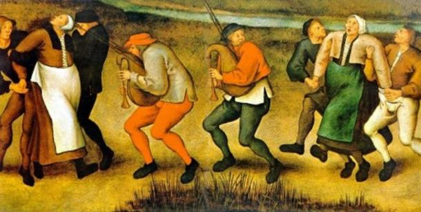 A depiction of dancing mania, which occurred on a pilgrimage to the church at Molenbeek, Belgium, by Pieter Brueghel the Younger (1564–1638).