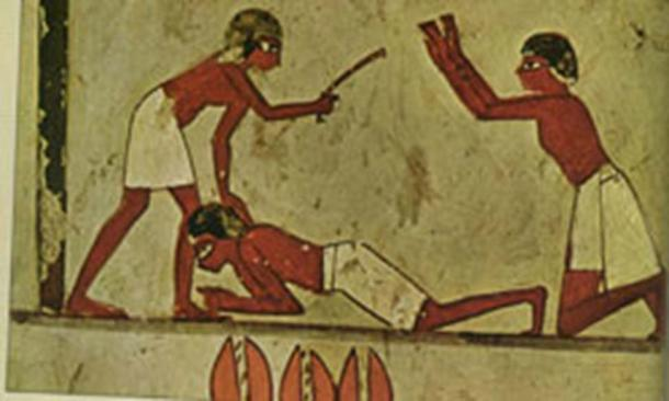 A depiction of punishment in ancient Egypt.