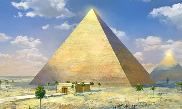 Artist's depiction of the Great Pyramid of Egypt with casing stones intact.