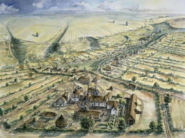 An artist's depiction of the Wharram Percy village, where the mutilated, burnt bones were found