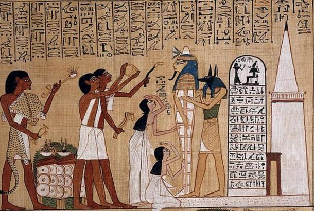 A depiction of the opening of the mouth ritual