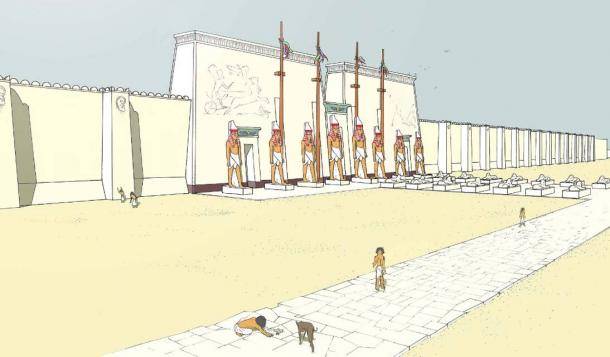 Artist's depiction of the white walls of the Great Temple of Ptah at Memphis.