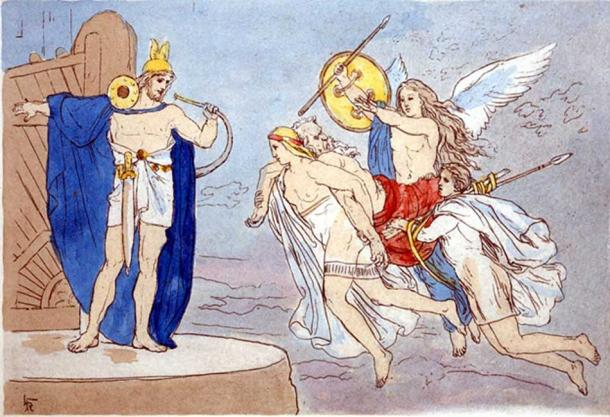 A depiction of valkyries encountering the god Heimdallr as they carry a dead man to Valhalla (1906) by Lorenz Frølich.
