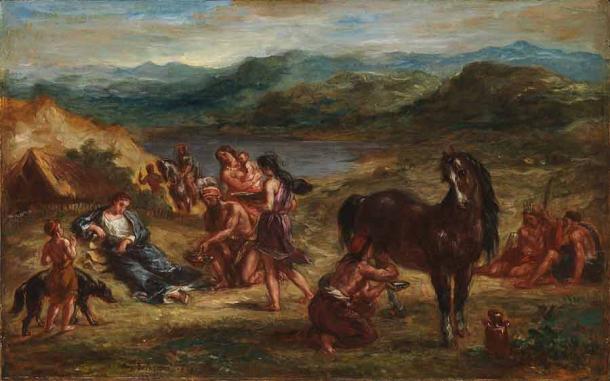 A depiction of the Roman poet Ovid among the Scythians and their horses. (Eugène Delacroix / Public domain)