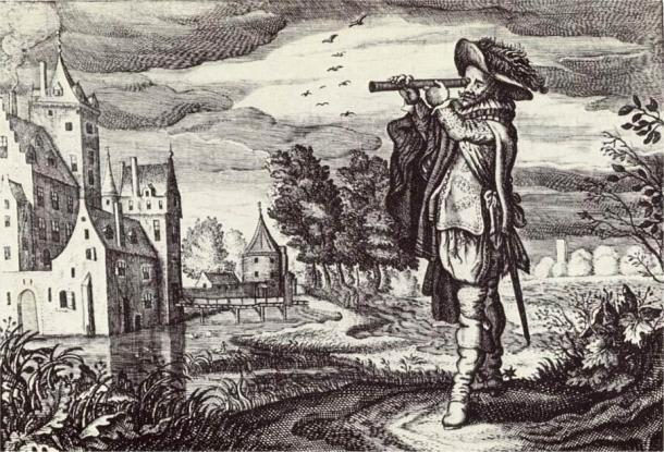 """Early depiction of a 'Dutch telescope' from the """"Emblemata of zinne-werck"""" (Middelburg, 1624) of the poet and statesman Johan de Brune (1588-1658). (Public Domain)"""