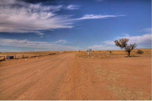 "The desolate road to Marree, close to where the famous geoglyph known as ""Marree Man"" was discovered."