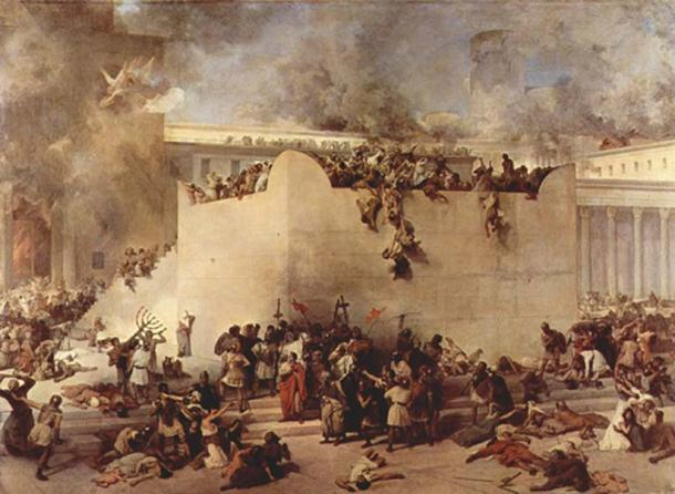 The destruction of the Temple of Jerusalem by Hayez. In the year 70 AD, the Second Temple in Jerusalem was destroyed by the Roman army during the First Jewish-Roman War