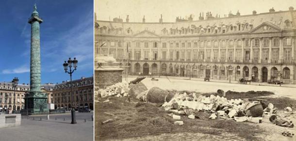 The destruction of the Vendome Column, Paris. 1871. (Left, Re-erected column,CC BY-SA 3.0, Right, destroyed Vendome in !*71,Public Domain)