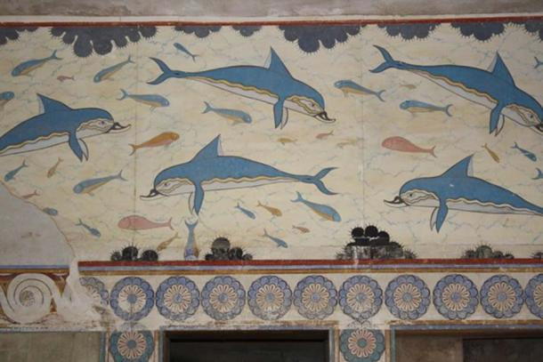 A detail of the dolphin fresco, the Minoan palace of Knossos, Crete, (1700-1450 BCE)