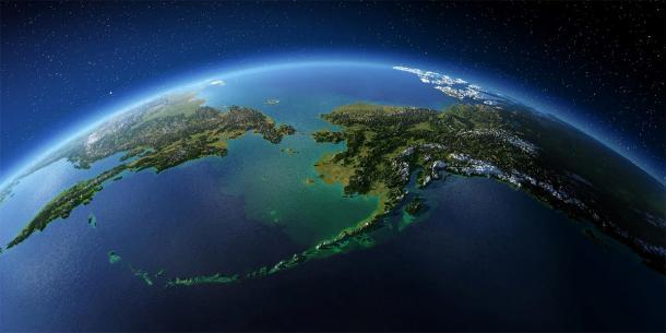 Highly detailed Earth. Chukotka, Alaska and the Bering Strait. (Anton Balazh / Adobe Stock)