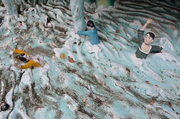 A recreation of a devastating flood.