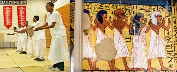 """Left: Somali youth dancing the """"dhaanto."""" (Somali Egyptian-Puntite History) Right: Ancient Egyptians with similar white clothing in a fresco from the Tomb of Pashedu at Deir el-Medina. (kairoinfo4u/CC BY NC SA 2.0) Pashedu was a """"Servant in the Place of Truth on the West of Thebes"""" and probably began working while Seti I was pharaoh."""