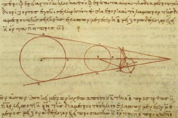 A 10th century reproduction of a diagram by Aristarchus showing some of the geometry he used in his calculations, demonstrating advancements made in ancient Greek astronomy. (Public domain)