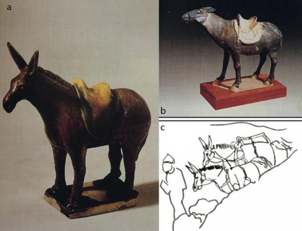 a–b) Donkey pottery figurines found in Xi'an; c) sketch of Tang Dynasty Dunhuang paintings (T. Wang / Antiquity Publications Ltd).