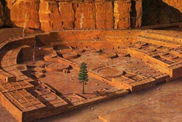 A digital model of ancient Pueblo Bonito (Chaco Canyon, New Mexico, United States) before it was abandoned.
