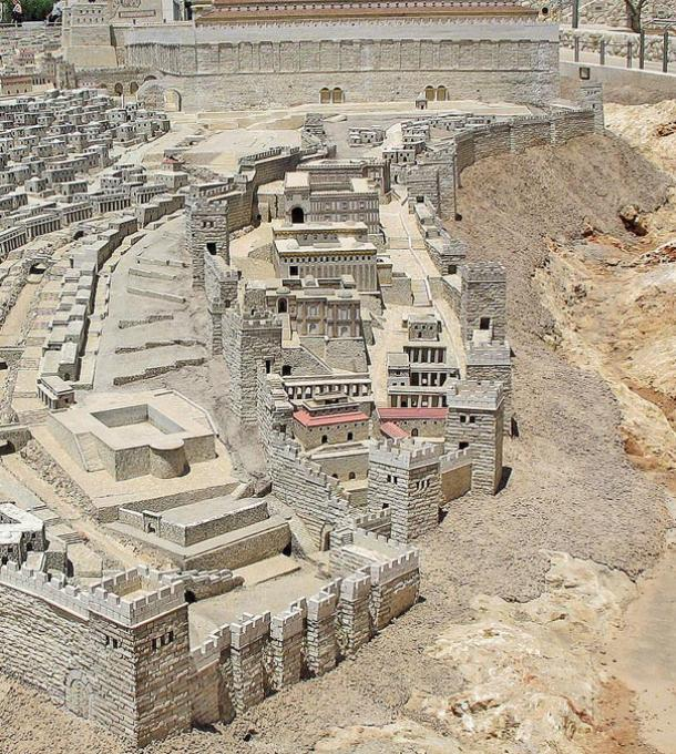 A digital reconstruction of the Biblical City of David in the period of Herod's Temple. The southern wall of the Temple Mount appears at top.