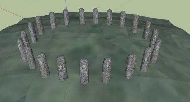 A digital reconstruction of Bluestonehenge by Henry Rothwell.