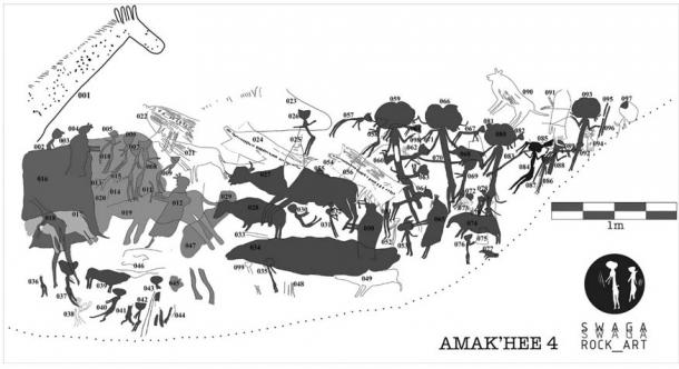 Digital tracing of the Tanzanian paintings at Amak'hee 4