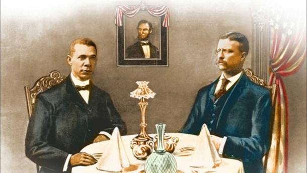 Booker T. Washington dining with Teddy Roosevelt.