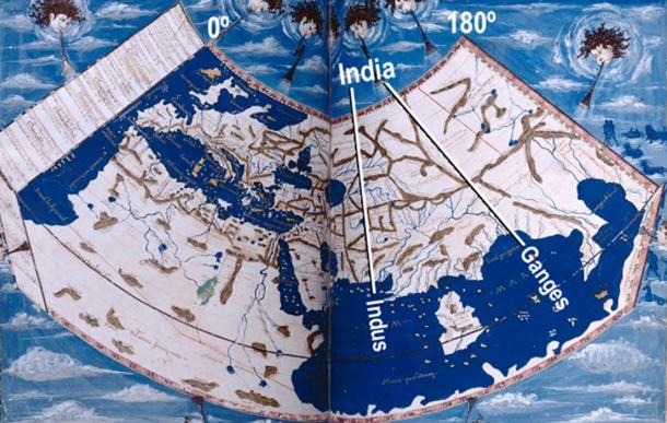 "The ""discoverer"" of America owned a copy of Ptolemy's Geographia, published in Rome in 1478, which included this map, representing the half of the globe that was then known. Note the added labels, in white, where we indicate the mouths of the River Indus, to the west, and Ganges to the east. The territory between these two rivers had been known as ""India"" for thousands of years."
