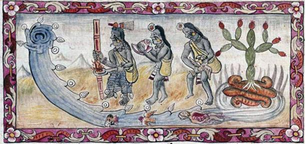 The most deadly and disruptive floods would be talked about for years to come. Here Aztecs perform a ritual to appease the angry gods who had flooded their capital.