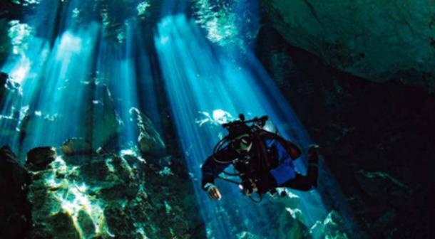 A diver in a Yucatan cenote. ( Public Domain )