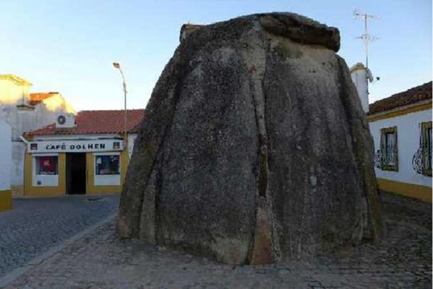 The Church destroyed many dolmens but declared others sacred sites, like this one in Pavia, Portugal. Note the 'Cafe Dolmen' in the background.