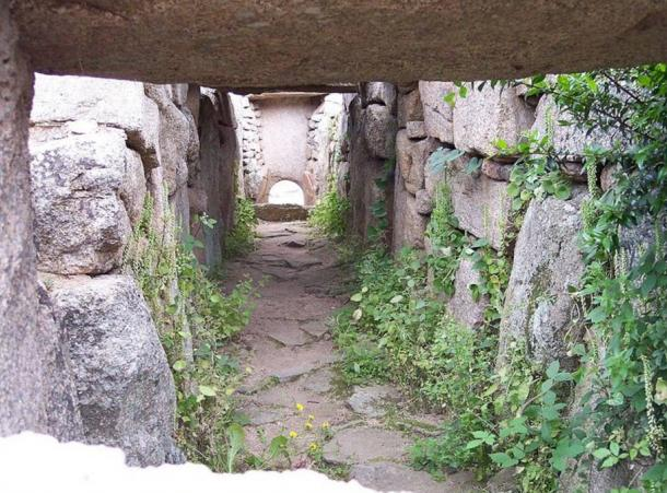 Through the doorway of the stele is a large rectangular burial chamber