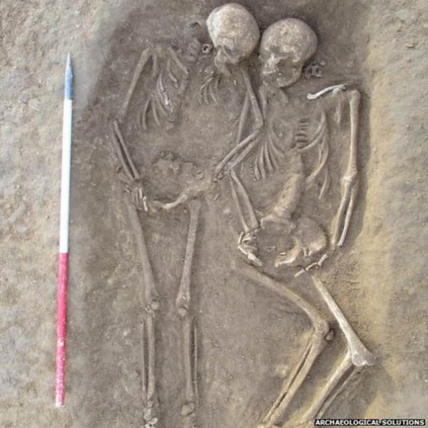 A double grave with two skeletons was found at the site