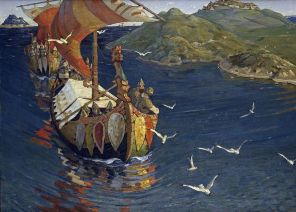 The dragon head is a famous symbol of the Vikings and was often mounted on their ships. 'Guests from Overseas' by Nicholas Roerich.