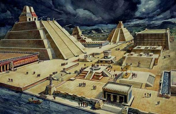 A drawing by Diego Rivera of what part of the Aztec city of Tenochtitlan may have looked like.