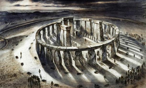 Reconstruction drawing of Stonehenge as it might have appeared in 1000BC by Alan Sorrell