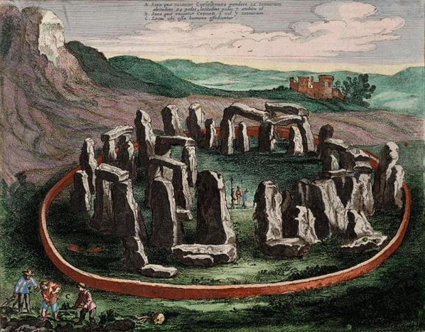 A drawing of Stonehenge from 1645.