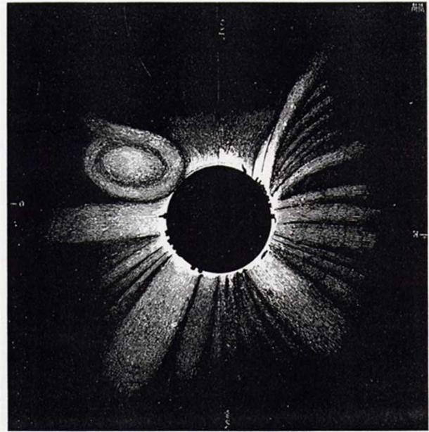 A drawing of a total solar eclipse on July 18, 1860, by German astronomer Wilhelm Tempel, shows solar activity during the occultation. Photo: Journal of Mediterranean Archaeology and Archaeometry