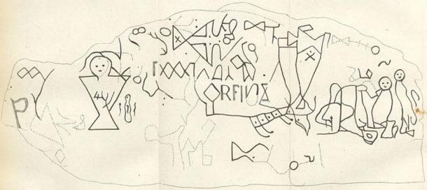 """1830 drawing of the Dighton Rock petroglyphs. This interpretation is often used to support the """"Norse"""" (aka Viking) hypothesis."""