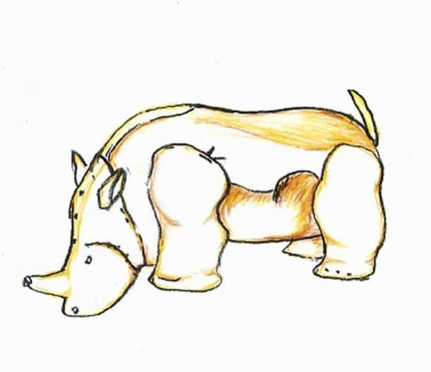 A drawing of the Gold Rhino from a burial site on Mapungubwe hill.