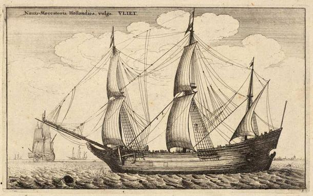 A drawing of a typical three-masted Dutch fluyt ship by Wenceslaus Hollar (1607–1677). (Wenceslaus Hollar / Public domain)