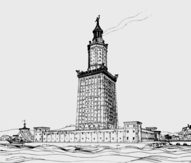 A drawing of the Pharos of Alexandria by German archaeologist Prof. H. Thiersch (1909). (Public Domain)