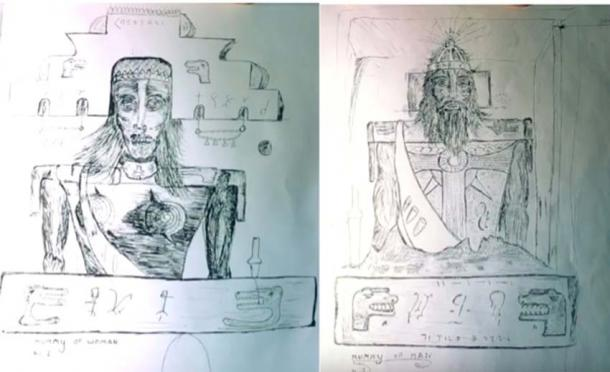 Mr. Brewer's drawings of the male and female mummies found in the Brewer Cave. (Terry Carter / YouTube)