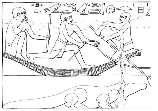Drawing of a painted scene from the Tomb of Ankhmahor, Vizier to King Teti, Old Kingdom (~2330 BC), showing a lector priest sitting in a boat, holding his magical staff and uttering magical words for protection while fording the river with the herds. A crocodile is seen in the water. (Ritner, Robert Kriech, The Mechanics of Ancient Egyptian Magical Practice, 1993)