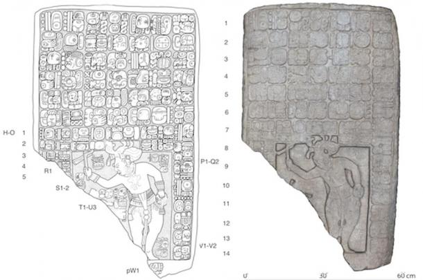 Left, drawing of a tablet found at the site. Right, a digital 3D model. (Image:  Stephen Houston (Brown University)/Charles Golden (Brandeis)