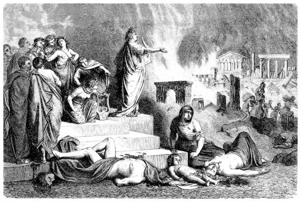 This ancient drawing shows Nero singing during the Great Fire of Rome. And, based on the newest book about him, he was wrongly blamed for the fire and its overall subsequent financial burden. (Erica Guilane-Nachez / Adobe Stock)