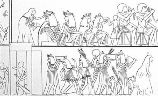 A drawing based on an ancient Egyptian wall painting shows a drinking festival in progress.