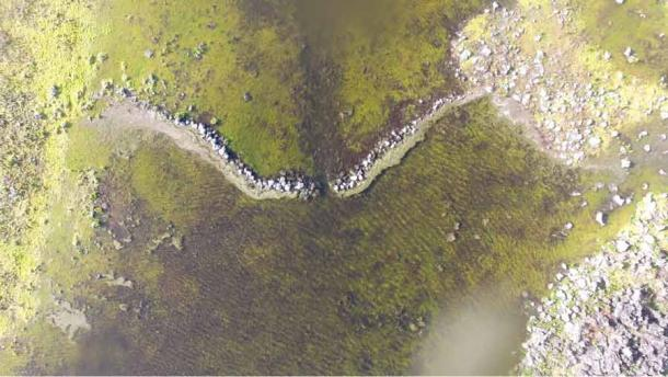 Drone image of a dam within the Budj Bim Cultural Landscape, part of a network of eel traps which have attained UNESCO World Heritage status. (Tyson Lovett-Murray / Gunditj Mirring Traditional Owners Aboriginal Corporation)