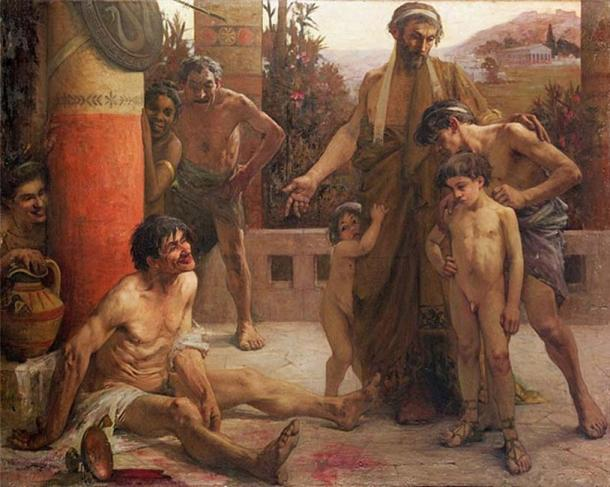A Spartan points out a drunken slave to his sons