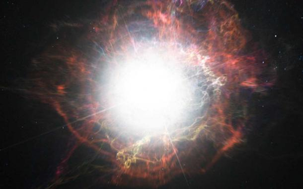 This artist's impression shows dust forming in the environment around a supernova explosion.