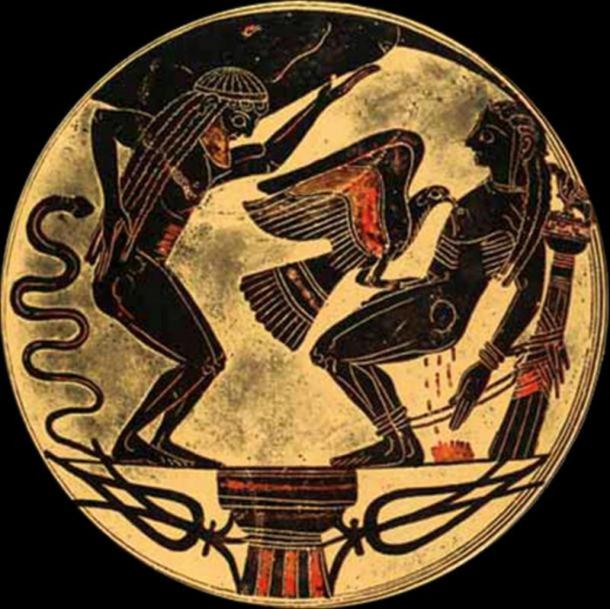 An eagle tears out Prometheus' liver out every day in punishment. Laconic bowl (~550 BC)