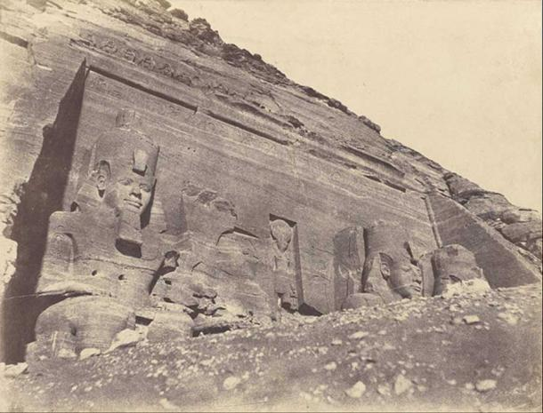 One of the earliest photographs of the discoveries of Ancient Egypt. The Great Temple, Abu Simbel by John Beasley Greene, 1854