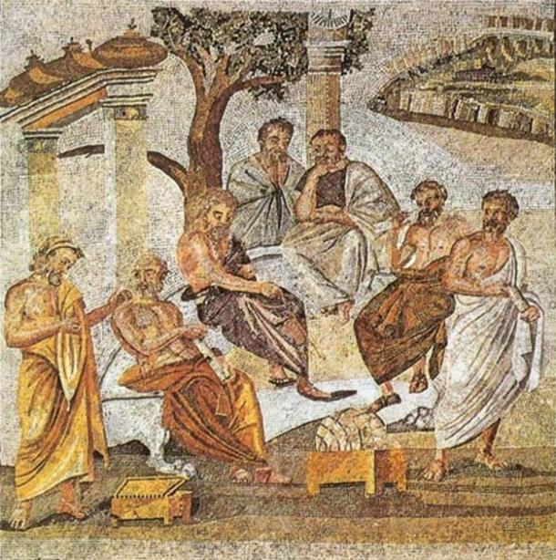 In the early history of childhood and education, Plato's Academy is one of the first known examples of further education. Pictured: a mosaic depicting Plato's Academy, which can be found in Pompeii. (Public domain)